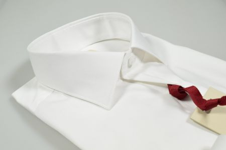 Slim fit white cotton shirt for fashion neck