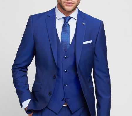 Royal blue Digel dress with waistcoat slim fit with Lana Marzotto Super 100 's