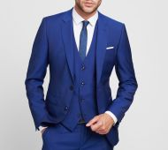Abito blu royal digel slim fit con panciotto in lana marzotto