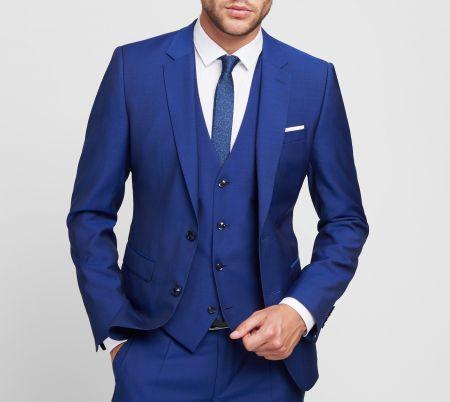 Abito blu royal digel slim fit con panciotto in lana marzotto