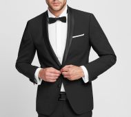 Tuxedo fashion slim fit black digel wool stretch