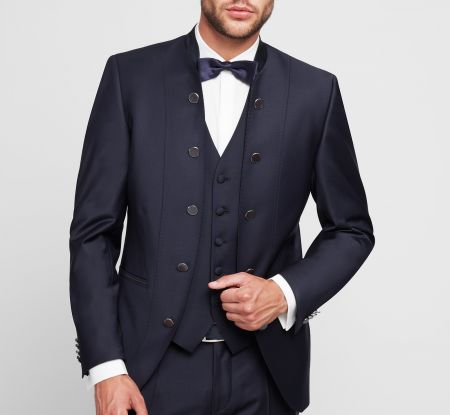 Blue digel groom dress model to korean guru slim fit