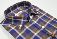 Ingram shirt in blue and brown square flannel button down