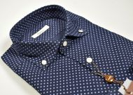 Camicia ingram in velluto blu a pois collo button down