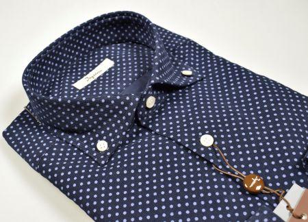 Camicia ingram in velluto blu a pois collo button down