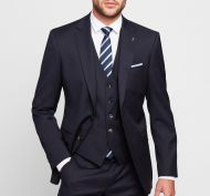 Dark blue wool suit drop six modern fit Digel