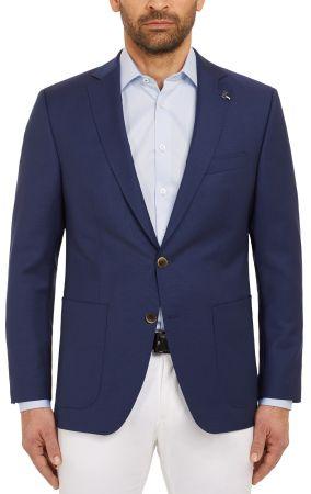 Giacca blu marine digel in pura lana vergine marzotto con tasche a toppa