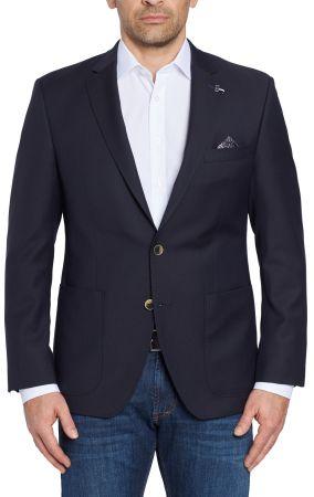 Giacca blu scuro digel in pura lana vergine marzotto con tasche a toppa