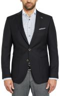 Digel black jacket in pure virgin marzotto wool with patch pockets