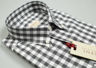 Camicia a quadri grigio in flanella rasata pancaldi collo button down