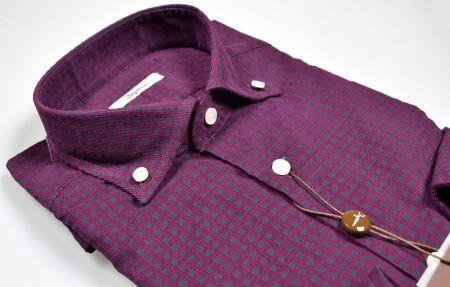 Camicia bordeaux ingram in velluto stampato regular fit