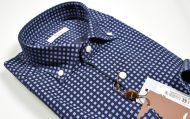 Camicia blu ingram in velluto stampato regular fit button down