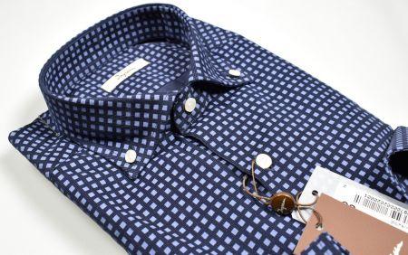 Camicia blu ingram in velluto stampato regular fit button down