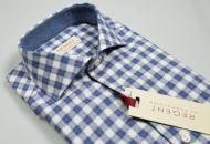 Camicia in flanella rasata slim fit quadri blu e grigio