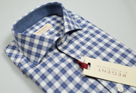Shirt in shaved flannel slim fit blue and grey squares