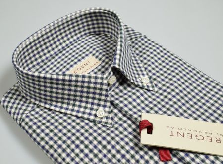 Camicia a quadretti blu e verde collo button down in flanella rasata
