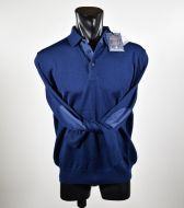 Three button Polo in mixed worsted wool ocean star made in Italy