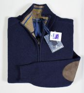 Cardigan con zip ocean star in lambswool con toppe in contrasto