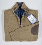 Cardigan con zip ocean star in lambswool con toppe in contrasto