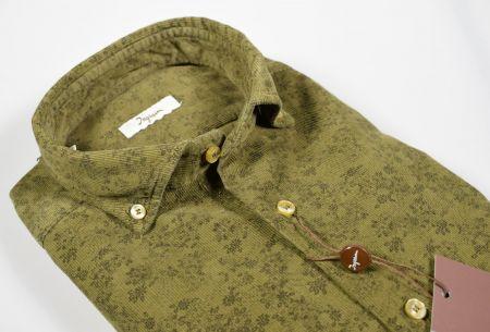 Camicia ingram verde in velluto stampato modern fit button down