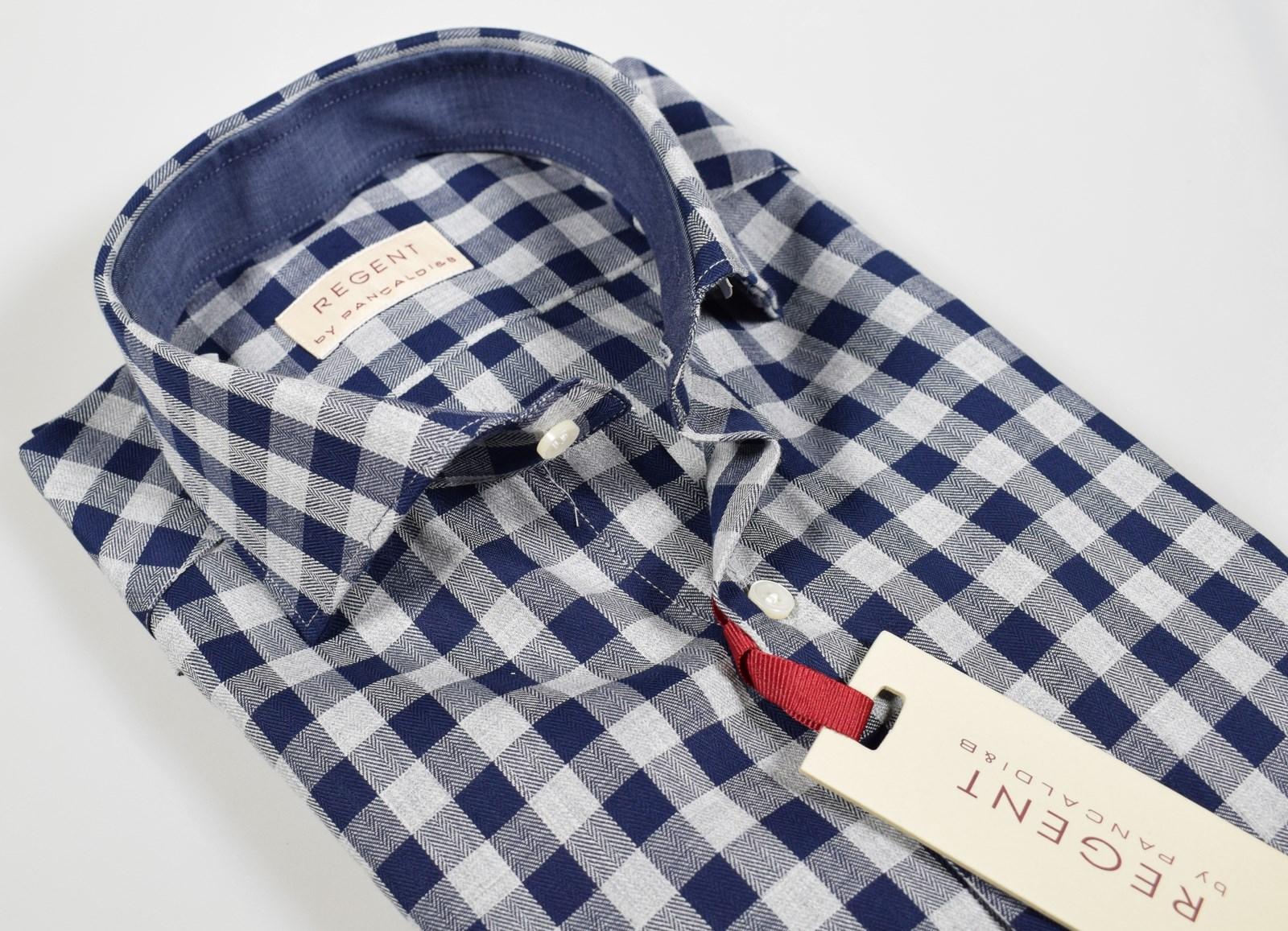 the latest 8db92 69bde Camicia moda uomo slim fit Pancaldi a quadri blu e grigio ...