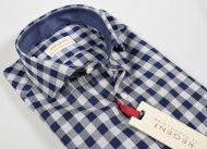 Camicia slim fit pancaldi a quadri blu e grigio puro cotone