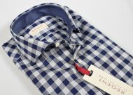 Slim fit Pancaldi in blue and pure grey cotton plaid shirt