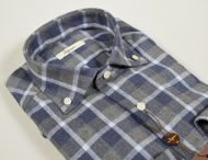 Camicia ingram in flanella a quadri blu e grigio modern fit