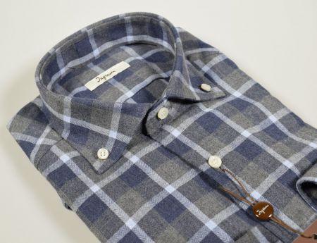 Camicia ingram in flanella a quadri blu e grigio modern fit