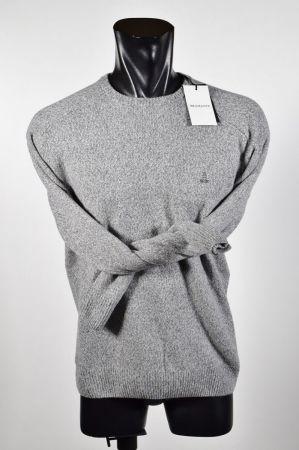 Maglione bramante giro collo regular fit misto lana mouliné