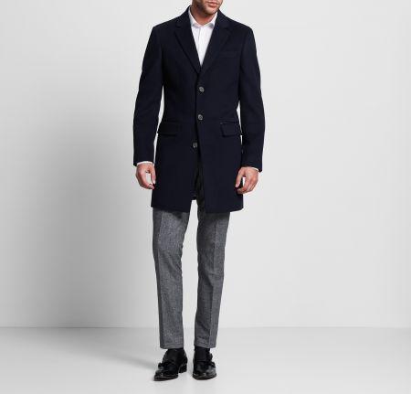 Cappotto elegante blu in misto lana digel modern fit