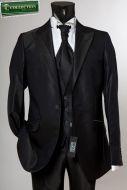 Abito nero slim fit luciano soprani lucido con panciotto e cravatta