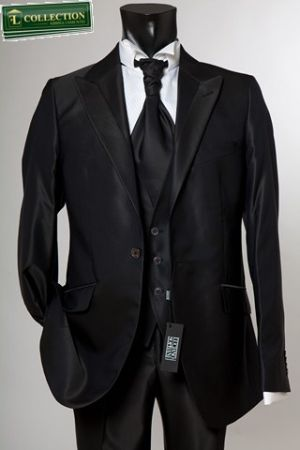 Black dress Slim fit Luciano sopranos glossy with waistcoat and tie