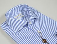 Ingram slim fit shirt striped pure blue double-twisted cotton