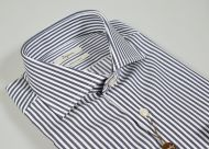 Ingram Slim fit shirt striped dark blue pure double twisted cotton