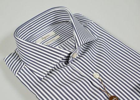 Camicia ingram slim fit a righe blu scuro puro cotone doppio ritorto