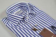 Ingram wide striped shirt in blue slim fit double twisted cotton