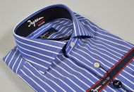 Camicia ingram azzurra a righe larghe slim fit cotone no stiro cotton stir