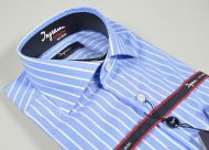 Wide-striped celestial shirt Ingram slim fit cotton no ironing cotton stir