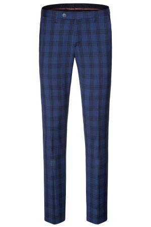 Pantalone blu a quadri extra slim fit digel pura lana merlane