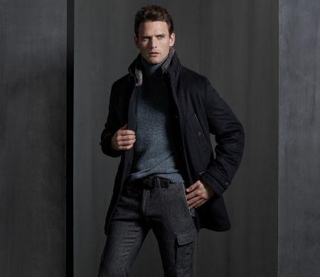 Caban blue jacket digel modern fit detachable fur collar