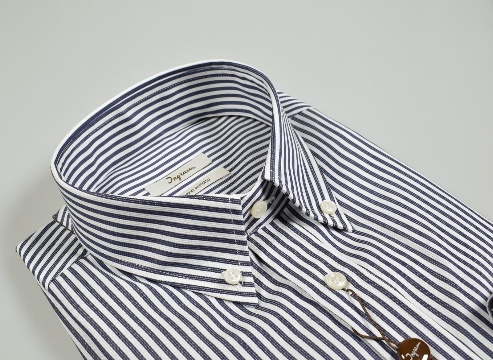 a9a9d3bc0620 Camicia ingram blu a righe collo button down regular fit cotone doppio  ritorto