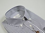 Ingram Blue striped shirt neck button down regular fit double twisted cotton