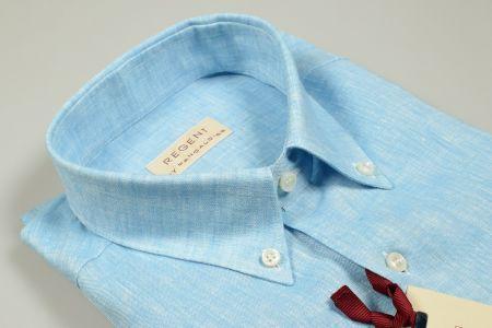 Camicia in puro lino verde acqua pancaldi collo button down regular fit