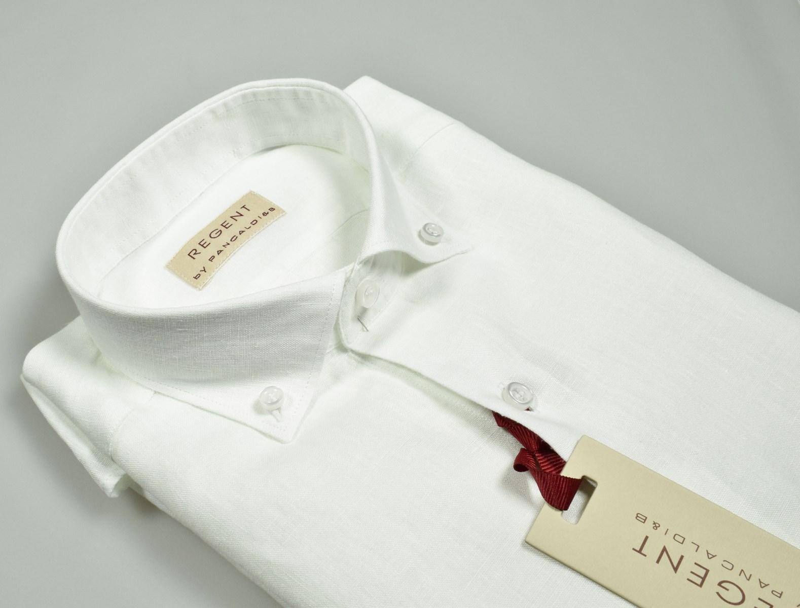 fa4aed3940 Men's fashion shirts in pure white linen regent by pancaldi online shop