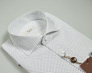 Camicia ingram bianca disegno stampato blu slim fit collo alla francese