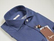 Camicia ingram blu disegno stampato slim fit collo alla francese
