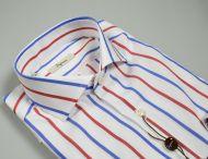 Camicia ingram a righe blu e rosso slim fit collo alla francese