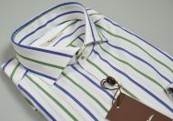 Camicia ingram a righe blu e verde slim fit collo alla francese