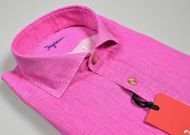 Camicia fucsia in puro lino tinta in capo ingram modern fit collo alla francese